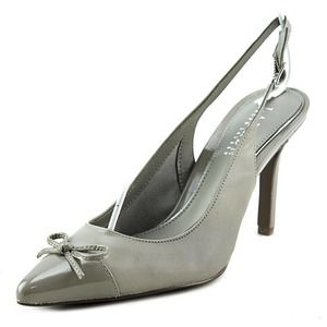 NEW Ralph Lauren Pointed Leather Gray Slingback